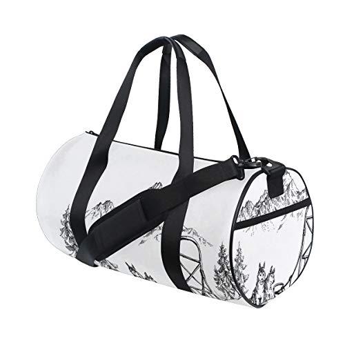 HARXISE Bolsa de Viaje,Paisaje de montaña Invierno Trineo de Perros Pinos Desierto Arte,Bolsa de Deporte con Compartimento para Sports Gym Bag
