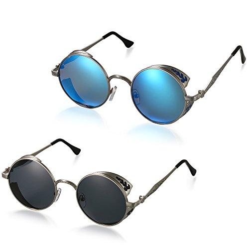 Aroncent 偏光 サングラス メンズ&レディース対応 (2点セット)丸サングラス 調光レンズ メガネ サングラスレトロ ロック シンブル ブルー グレー メンズアクセサリー レディースアクセサリー