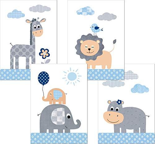 LALELU-Prints | A4 Bilder Kinderzimmer Deko Mädchen Junge | Zauberhafte Dschungel-Tiere blau | Poster Babyzimmer | 4er Set Kinderbilder (DIN A4 ohne Rahmen)