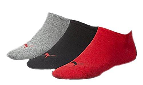 PUMA Unisex Invisible Sneaker Socken 12er Pack, Gr.-43/46, Rot/Grau/Schwarz