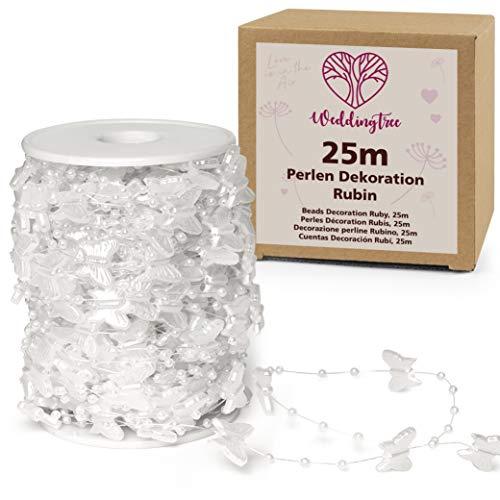 WeddingTree Guirnalda de perlas blancas 25m mariposas - Cinta de perlas para...