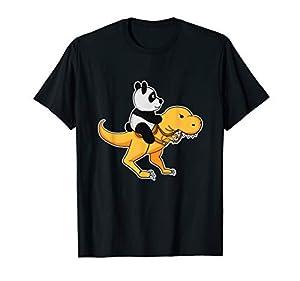 Panda Riding a T-Rex dinosaurs T-Shirt