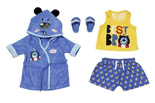 Zapf Creation 830499 BABY born Bath Deluxe Bademantel 43 cm - Puppenkleidung Set bestehend aus blauem Puppenbademantel, Shirt, Shorts und Schuhen