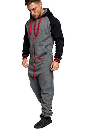 Amaci&Sons Herren Overall Jumpsuit Onesie Jogging Sportanzug Trainingsanzug Jogginganzug 3022 Anthrazit/Rot XL