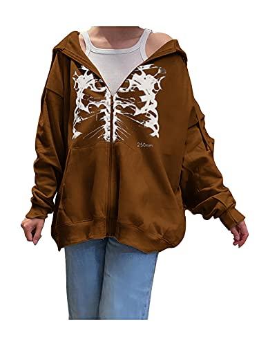 Sudadera con capucha para mujer Y2K con estampado de esqueleto, chaqueta de traje de calle con bolsillo con cordn, marrn, S