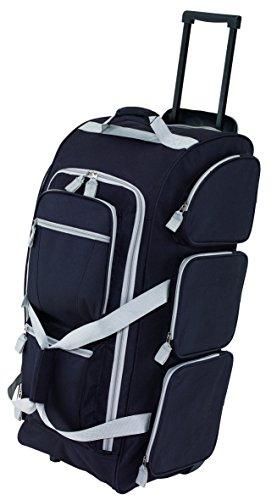 Trolley Reisetasche schwarz 3 Reißverschluss Vorfächer & Gleitschienen für Treppen Trolleytasche Größe 75 x 30,5 x 33cm 2,8kg