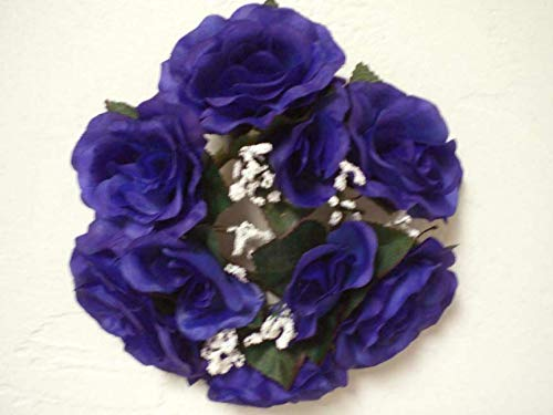 Artificial Silk Flowers Blue Purple Tip Color Candle Rings Roses Center Pieces 3' Get 2 Candle Rings MG019