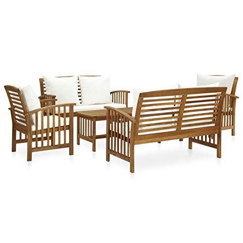Tidyard Muebles de Jardín 5 Piezas con Cojines Mesa Sillones Patio Terraza Exterior Madera Maciza de Acacia Blanco Crema