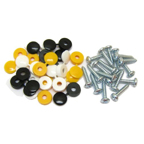 All Trade Direct 18 Pk Caps & Screws Car Number Plate Fixing Fitting Kit