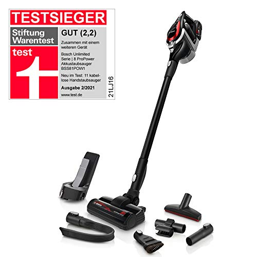 Bosch Hausgeräte Unlimited ProPower Serie 8 BSS81POW1, Akkustaubsauger, schwarz