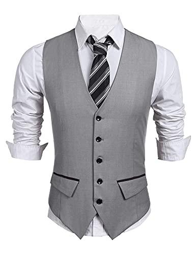 COOFANDY Men's Business Suit Vest,Slim Fit Skinny Wedding Waistcoat (Small, Light Grey)