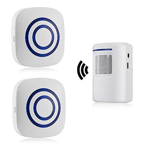 HommyFine Rilevatore di allarme con sensore di movimento wireless Allarme campanello wireless Kit di Allarme con 38 Melodie, Indicatori LED per Casa, Ufficio, appartments, fabbriche e alberghi