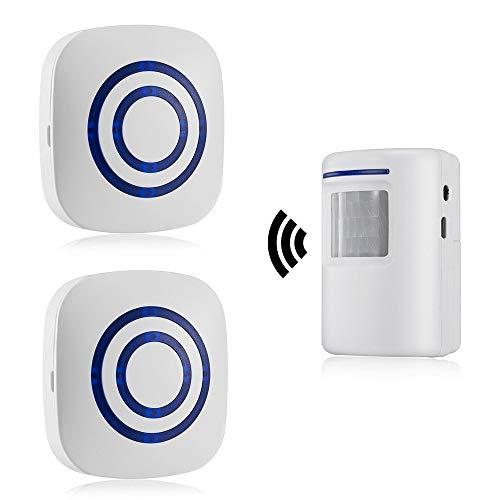 Alarma de Seguridad, HommyFine Inalámbrico Timbre de Alarma para la Puerta con Sensor de Movimiento PIR Infrarrojo Detector de Timbre del Sensor Ideal para Tiendas Mercados y Familias(2 + 1)
