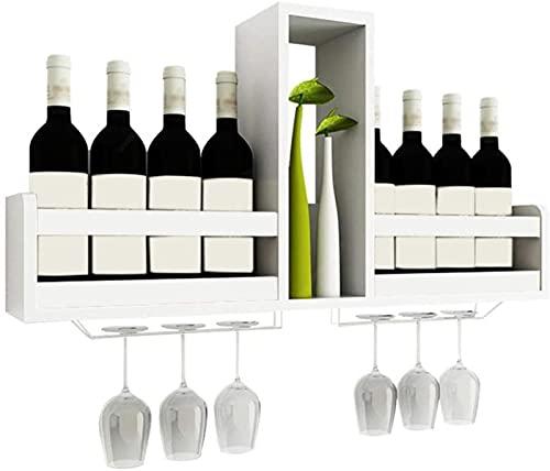 Estantes para Vino Gabinete de Madera de Pared Independiente, Estante de Almacenamiento de Botellas de champán Vintage, Tiene Capacidad para 8 Botellas de Vino y 6 Copas, L80xD14.5xH41cm (Color: