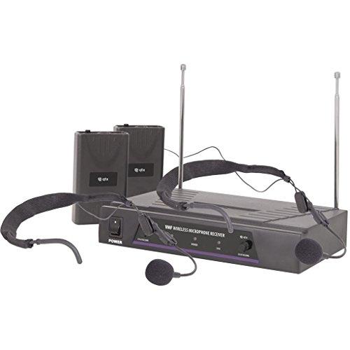QTX 171.818 microfoonset, draadloos, VHF-microfoon, 2 kanalen, 2 koptelefoons met microfoon (bereik 50 meter), zwart