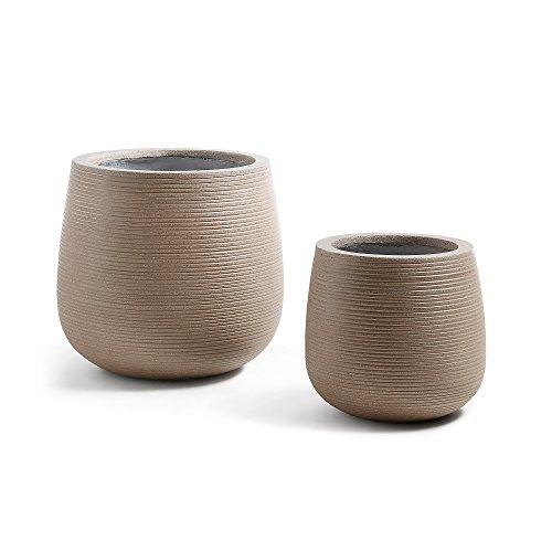 Kave Home - Set de 2 maceteros Loa marrón de Cemento para Interior y Exterior