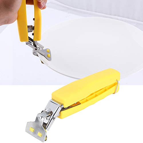 Pinzas de agarre, pinzas de tazón, diseño de mango de resorte 2 piezas multifuncional para escaldar para placa caliente de tazón caliente(K1050#B yellow)