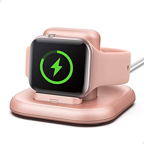 Conido Charging Stand for Apple Watch, Portable Watch Charger Stand with Charging Cable Compatible with Apple Watch Series 5/4/ 3/2/ 1/ 44mm/ 42mm/ 40mm/ 38mm with Nightstand Mode- Rose Gold