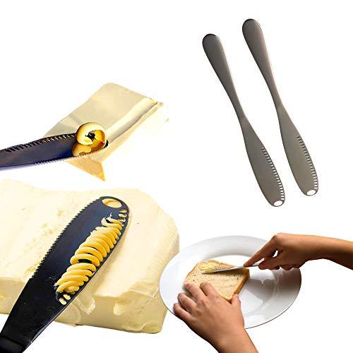 Butter Knife Spreader , Unique Kitchen Gadgets, 4 in 1 Value - Butter Slicer Scooper Spreader and Curler, Best Japanese Butter Knife for Cold Butter – Stainless Steel – 2 in 1 pack (Black)