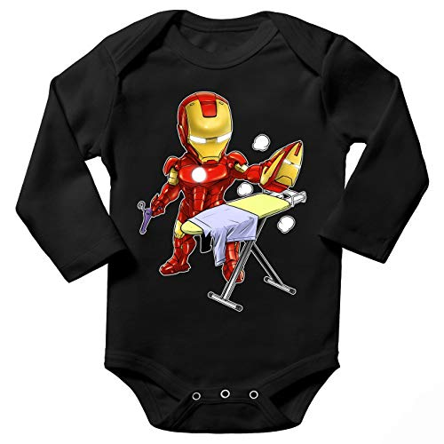 Okiwoki Body bébé Manches Longues Noir Parodie Iron Man - Tony Stark - Le Super Héros du Quotidien !! (Body bébé de qualité supérieure de Taille 6 Mois - imprimé en France)