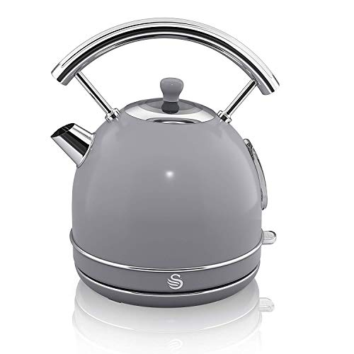 Swan Retro 1.8 Litre Dome Kettle, Grey, Fast Boil, 3KW, 360 Degree Rotational Base, Stainless Steel, SK14630GRN