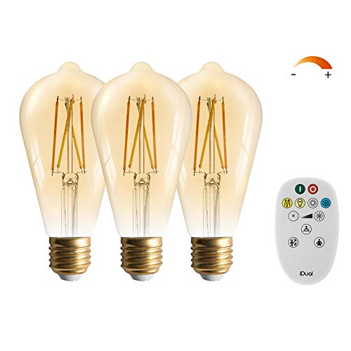 3 Packs LUTEC ST21 E26 Edison Light Bulbs Vintage Light Bulbs Retro Light Bulbs for Vintage Lamps and Fixtures - 700LM 7.5W 2200-5000K Amber Glass Edison Light Bulb
