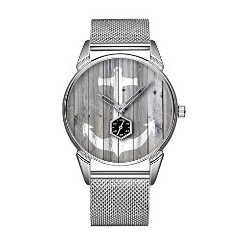 Mode wasserdicht Uhr minimalistischen Persönlichkeit Muster Uhr -443. Hipster Vintage White nautischer Anker auf grauem Holz