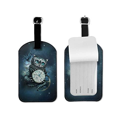 Alice Cheshire - Etiqueta para equipaje para gato, elegante y exquisita, hecha de piel sintética de microfibra, apta para maleta y bolso