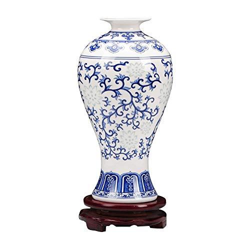 ufengke Jingdezhen Vaso Porcellana Blu e Bianca,Vaso Floreale,Piccolo Vaso di Fiori in Ceramica,9.5