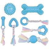 Popuppe Giocattoli da Masticare per Cuccioli, 7 Pezzi Giocattoli da dentizione per Animali Domestici Giocattoli da Masticare per Cani con Cotone e Palla(Blu)