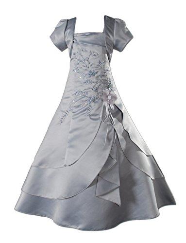 Cinda Mädchen Brautjungfer/Heilige Kommunion Kleid Grau 152-158