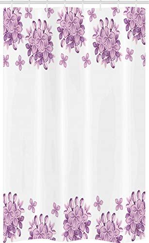 ABAKUHAUS Floral Cortina para baño, Lila Flores Flores, Tela con Estampa Digital Apta Lavadora Incluye Ganchos, 120 x 180 cm, Lila y Blanco