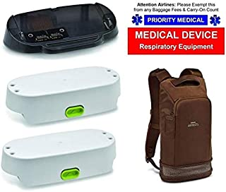 SimplyGo Mini Airline Power Bundle - Two Extended Life Battery, Desktop Battery Charger, Backpack, and Airline Priority Tag Identifier