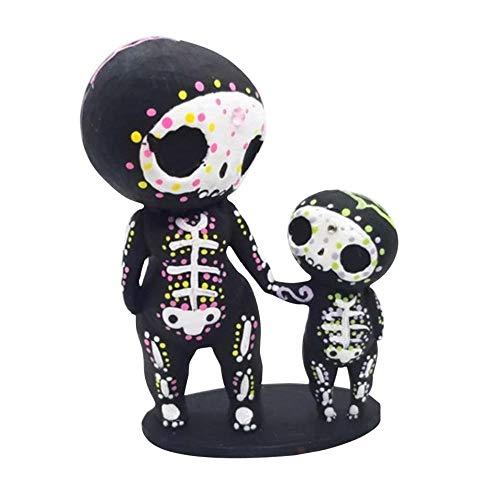 Estatuilla de resina de cráneo de azúcar para pareja con diseño de calavera de resina y flores de decoración de regalos para amantes de la estatuilla romántica gótica - C