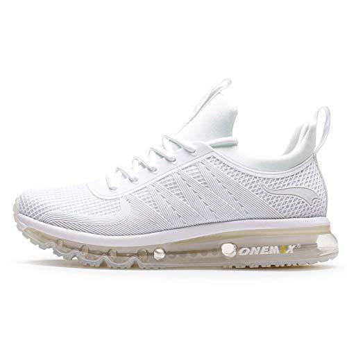 Onemix - Zapatillas de correr para hombre, ligeras, acolchadas, deportivas, tenis, entrenamiento, tenis, color Blanco, talla 41 1/3 EU
