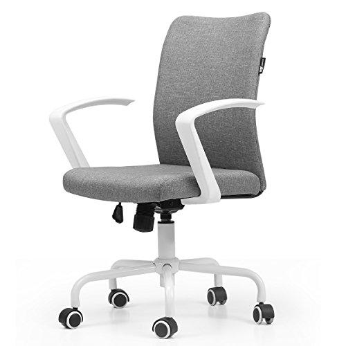 Hbada Bürostuhl Ergonomischer Schreibtischstuhl Drehstuhl Konferenzstuhl Besucherstuhl leicht Stuhl Leinen Wippmechanik Weiß