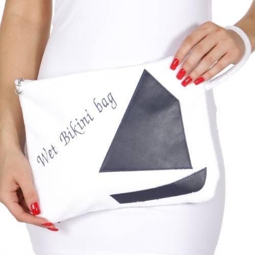 Para tejer Factory a prueba de agua toalla de algodón húmedo Bikini bolsa selección de ballena, Sailboat-White
