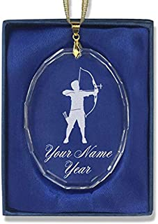 LaserGram Christmas Ornament, Archer Man, Personalized Engraving Included (Oval Shape)