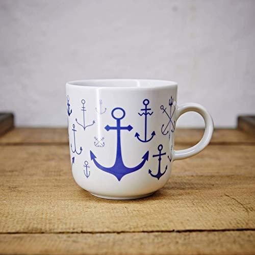 Kaffeebecher - 100% Handmade von Ahoi Marie - Motiv Anker - Maritime Porzellan-Tasse original aus dem Norden