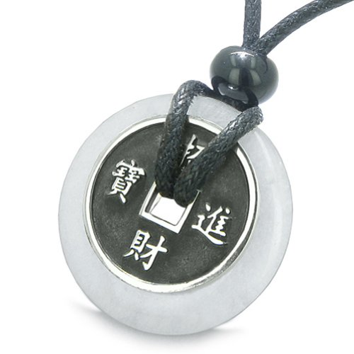 BestAmulets Amulet Lucky Coin Charm Donut in Snowflake Quartz Antiqued...