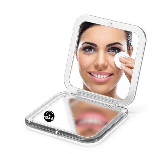 Espejo compacto con aumento de bolsillo, 10 veces, pequeño espejo plegable de viaje, para bolso cuadrado de mano, 3.5 pulgadas (plata)