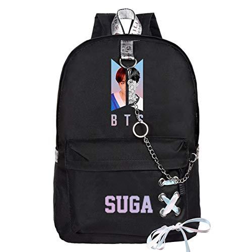 ALTcompluser Kpop BTS World Daypack Rucksack mit Kette Band, Schulrucksack Schultasche Mädchen Jungen für Wandern/Reisen/Camping(SUGA)