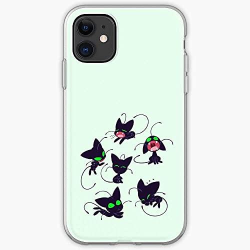 Jinfugongmao Compatible con iPhone 12/11 Pro MAX 12 Mini SE X/XS MAX XR 8 7 6 6s Plus Funda Kwami Chat Art Noir Miraculous Black Qooky Fanart Cat Ml Ladybug I Trendy- Cajas del Teléfono Cover