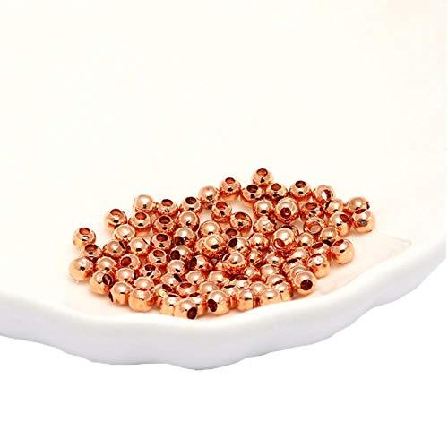 Fornituras de joyería Diy Cuentas de metal Oro/Rodio/Bronce Tono de bola suave Cuentas espaciadoras para joyería g 2/2.5/3/4/5/6/8 / 10mm-Oro rosa, 4mm 500 piezas