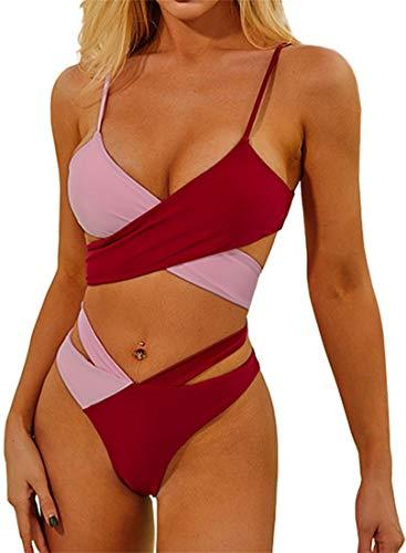 EUDOLAH Damen Bikini-Set Crossover Ties-Up Bademode Zweifarbig Schnürung Push Up (L Pink)
