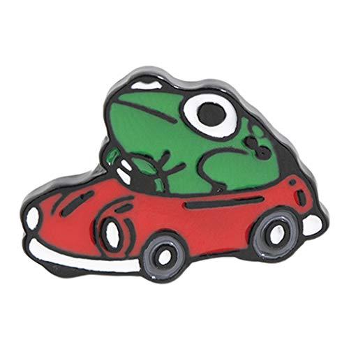 Baiyao Broche de esmalte de coche con diseño de rana, diseño de animales de dibujos animados, para niños