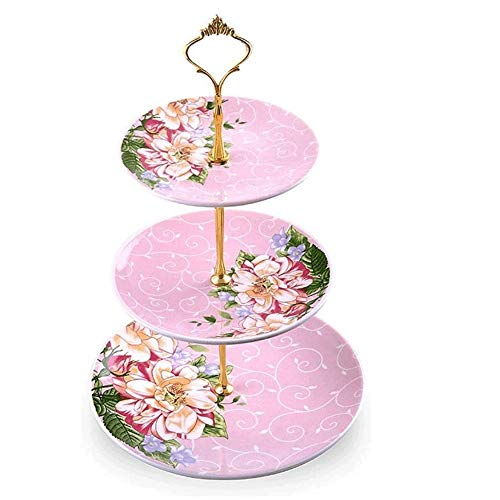 Fruitschalen, Europees Keramisch Three-layer fruitschaal, New Chinese Retro Creative Etagere, Huis Gedroogd fruit Snack Tray Pink Plate