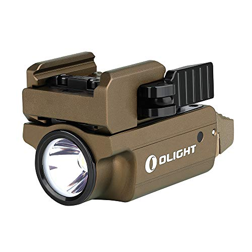 Olight PL-MINI 2 VALKYRIE 600 Lumen modular weaponlight Rechargeable compact Subcompact pistol light, Build-in Lithium, magnetic charging, adjustable mount for Glock, Picatinny rail (Desert Tan (FDE))