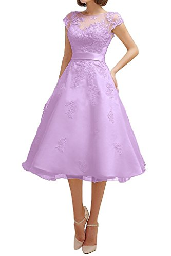 Dresses Onlie Tüll A-Linie Kurzarm Hochzeitskleider Wadenkurz mit Spitze Applikationen Brautkleid-Lila-42