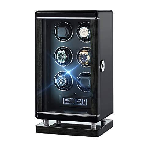 ZCXBHD Enrollador de reloj para 6 relojes automáticos Smart Fingerprint con control remoto LCD con panel táctil Iluminación LED 6 modos de rotación Ajuste silencioso Motores negro